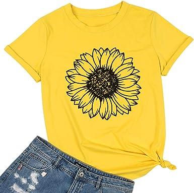 Aunimeifly Sunflower Shirts for Women Plus Size Tops Summer Short Sleeve Loose T-Shirt Junior Teen Girls Graphic