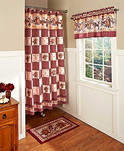 Country Heart Star & Berries Bathroom Collection Set Rustic Primitive Curtain Hooks Accessories