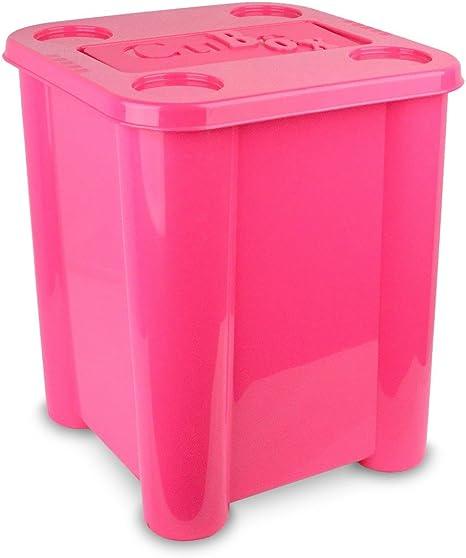 355312 Caja de plástico rigido para juguetes con tapa 29 x 33 x 33cm (ROSA): Amazon.es: Bebé