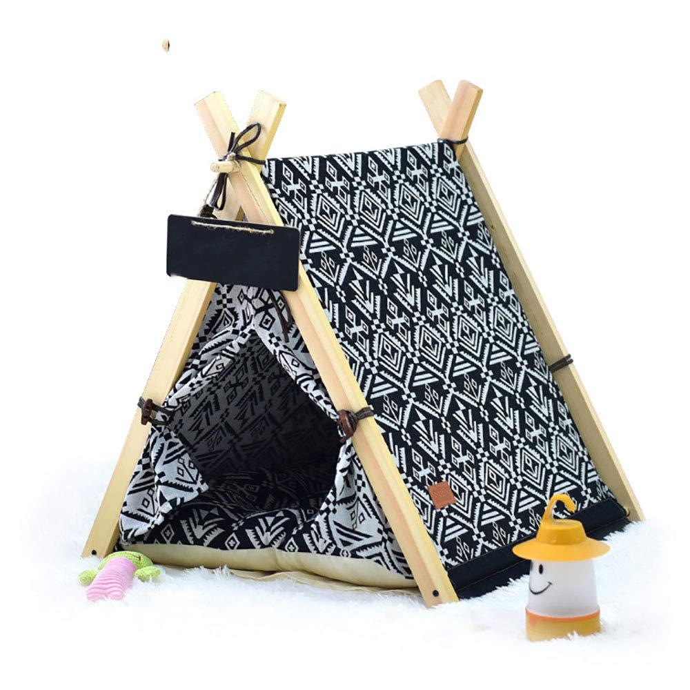 Notincludedmat Small Notincludedmat Small QNMM Fashion Pet Teepee Foldable Portable Cotton Canvas Pet Bed House Removable and Washable Pet Play Tent (with or Without Optional Cushion),NotincludedMat,S