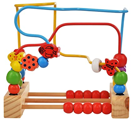 Trinkets More Wooden Beads Kids Magnet Toddler Large Abacus Maze Puzzle Game Roller Coaster 12months 30 Pieces