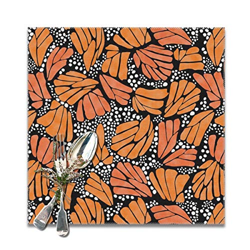 FUNINDIY Orange Monarch Butterfly Placemats for Dinning Table Set of 6PC-Dining Table Washable Polyester Placemat, Heat Resistant, Non-Slip Design, Washable and Easy to Clean Table Mats