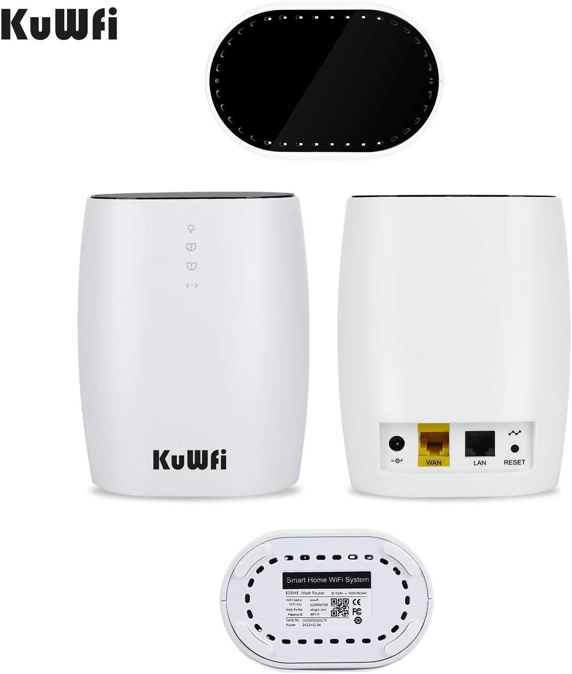 KuWFi Sistema Mesh WiFi, 3 Pack 802.11AC Dual Band AC1200 ...