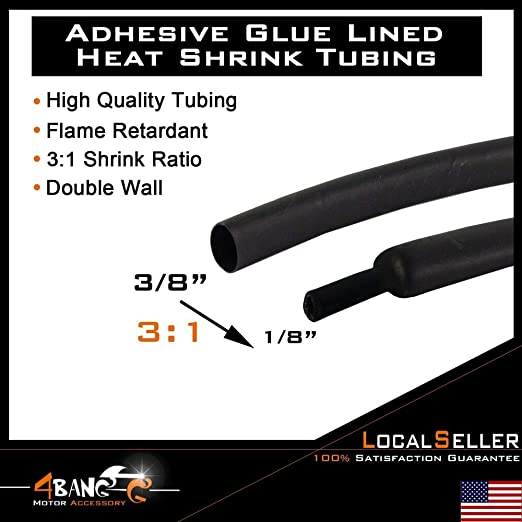 HEAT SHRINK BLACK 8mm ADHESIVE GLUE LINED WATERPROOF TUBING 3:1 HEAT SHRINK