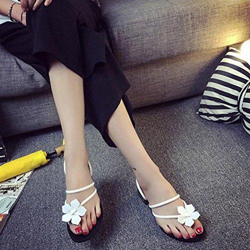 Calzado de mujer,Amlaiworld Mujeres Bohemia Zapatillas Lady Flower Weave Sandalias Blanco