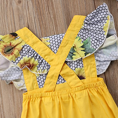 e77a475cbf12 Amazon.com  WINAGAINER Newborn Baby Girl Sunflower Romper Bodysuit Ruffle  Sleeve Jumpsuit with Headband Summer Outfits Clothes  Clothing
