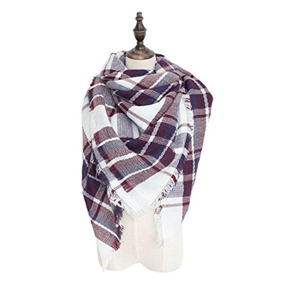 Spring Fever Soft Lightweight Plaid Blanket Acrylic Cashmere Feel Elegant Scarf A50