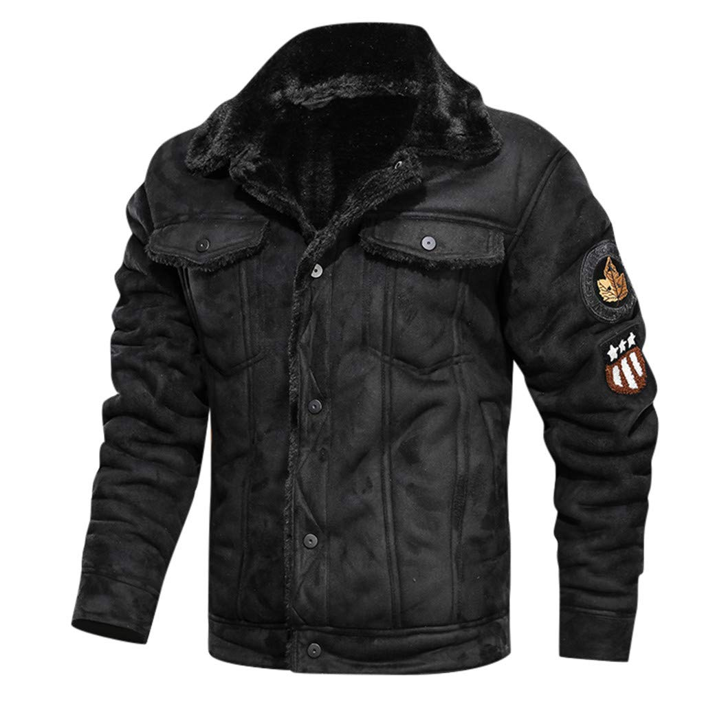 Mens Plus Velvet Motorcycle Faux Leather Jacket Autumn Winter Vintage Turn-Down Collar Solid Imitation Leather Coat Leather Jacket for Men