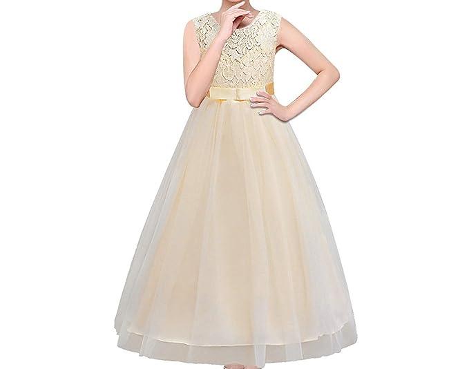 Timlung Princesa Vestido de niña de flores para la boda Vestidos, Champagne, 13-