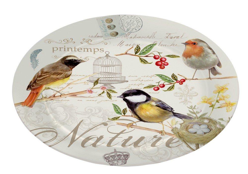 Nuova R2S 635OISE - Piatto da portata per dessert, decorazione Natura, in vetro rafforzato, 32 cm