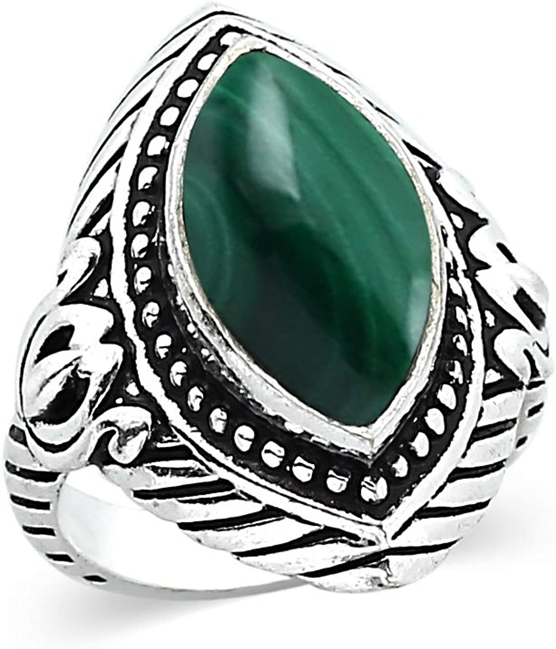 Malachite Marquise Cold Forged Sterling Silver Pendant