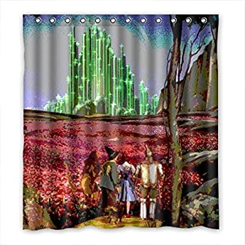 Printed Polyester Waterproof Wizard Of Oz Bathroom Shower Curtain 66 x 72 Inch