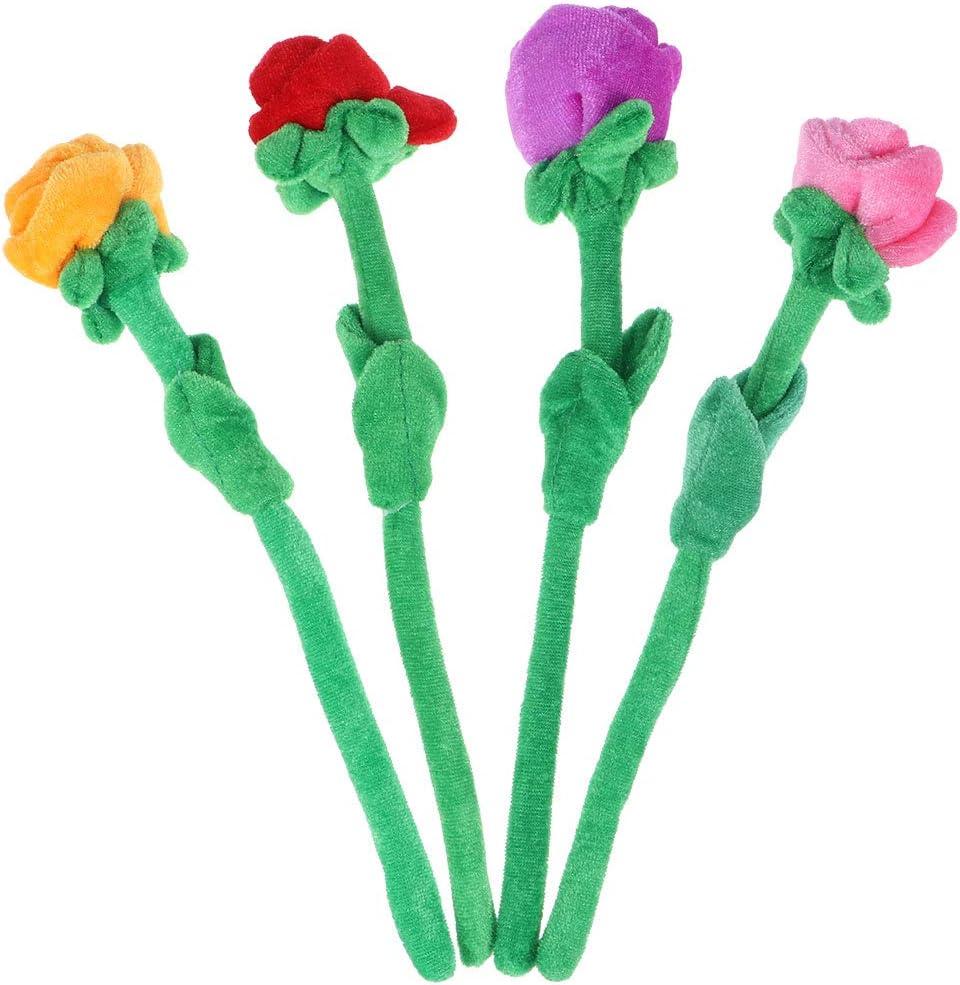 STOBOK 4 unids Flores de Peluche Rosa Flor de Peluche de Juguete de Felpa Artificial Juguete para niños Regalo de cumpleaños florero decoración 30 cm
