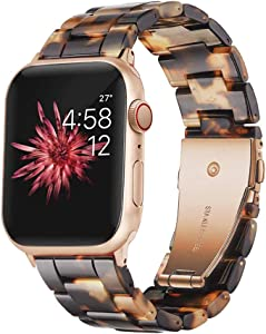 Wongeto Resin Bands Compatible with iWatch Band 38mm 40mm Apple Watch Series SE/6/5/4/3/2/1 Women Men with Stainless Steel Metal Buckle Replacement Lightweight Wristband (Rose Gold+Tortoise, 38mm/40mm)