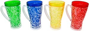 Plastic Freezer Beer Stein Mugs with Gel by Trademark Innovations (Set of 4)