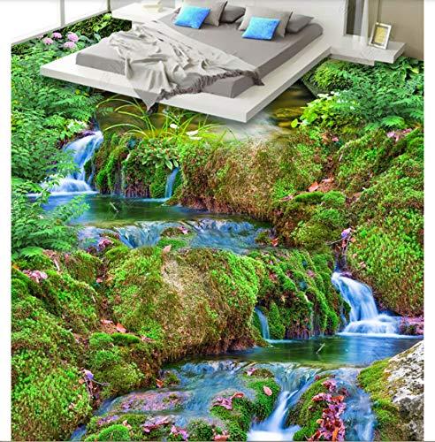PVC 3D Wallpaper Murals Flooring Waterproof Self Adhesion Moss Landscape Painting Lotus Green Plant Stereo 3D Floor Painting 450X300cm