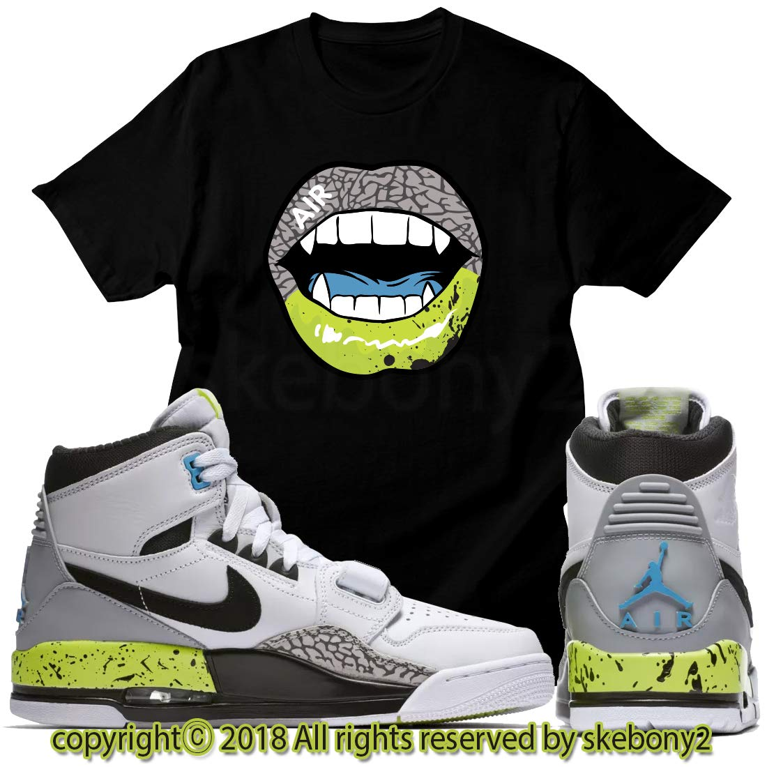 4695cef225bae Amazon.com: Custom T Shirt Matching AIR Jordan Legacy 312 White/Volt ...