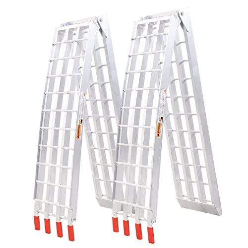 Goplus 7.5' Loading Ramp 1760 lb Heavy Duty Aluminum ATV UTV Arched Folding Ramps Pair