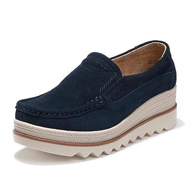 0f0d958cacdda WOIDIOUY Women s Breathable Round Toe Slip Suede Wedge Heel Platform Wedges  Heel Leatherette Shoes Blue