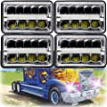"4x6"" LED Headlight Sealed Beam Hi/Lo DRL Headlamps For 1988-2007 Freightliner FLD120 Super Bright Rectangular Lights Newest Design, Pack of 4"
