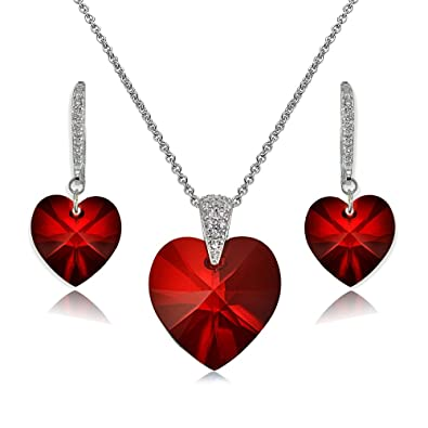 23bd666b5 Amazon.com: Sterling Silver Red Heart Necklace and Dangle Earrings Set  Created with Swarovski Crystal: Jewelry