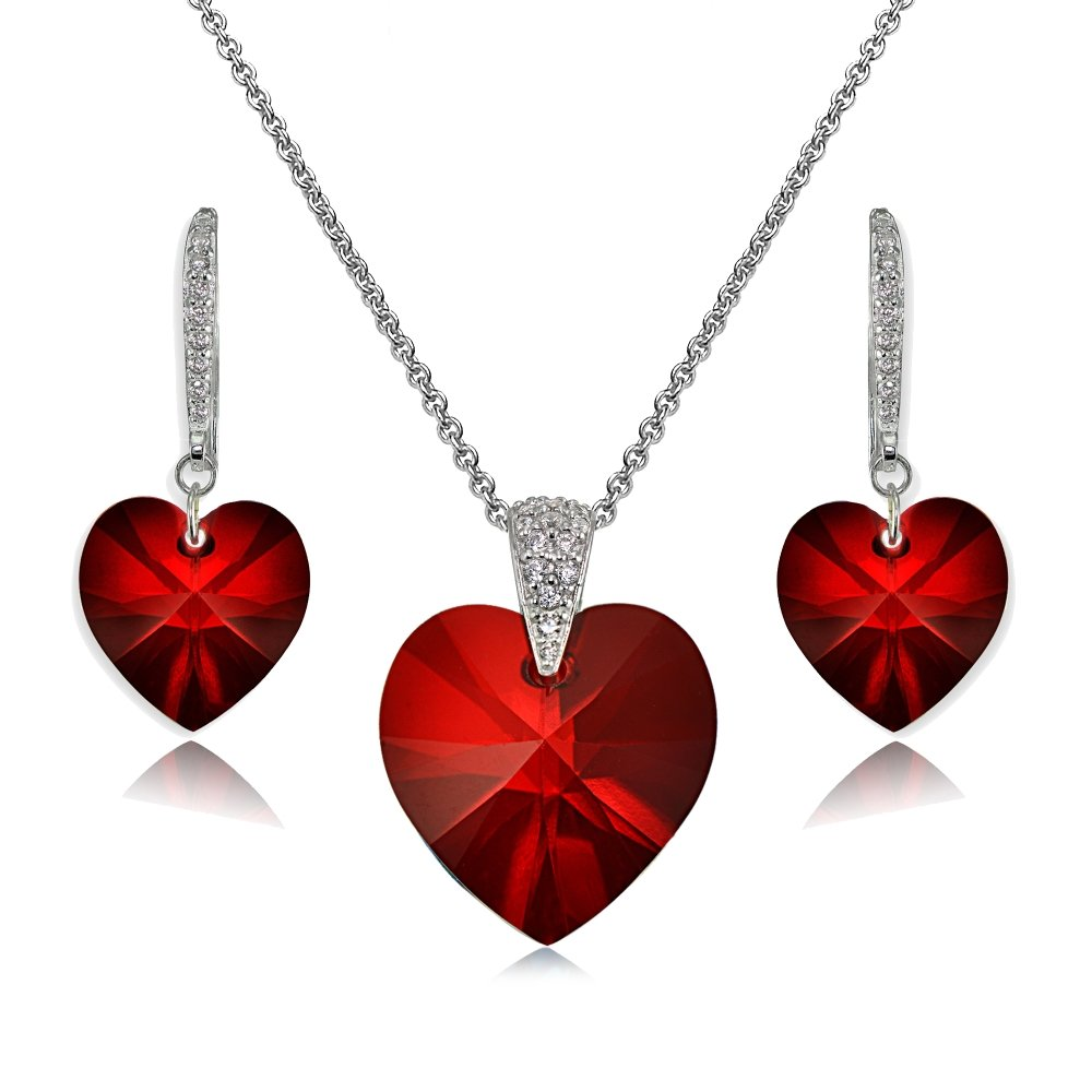 Sterling Silver Red Heart Necklace and Dangle Earrings Set Created with Swarovski Crystal by GemStar USA (Image #1)