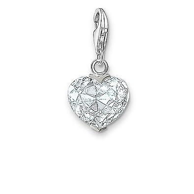 Thomas Sabo Women-Charm Pendant Heart Charm Club 925 Sterling Silver Zirconia white 0018-051-14 GA5tO6YAT