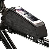 ONEU Bike Top Tube Bag, Quick Installation & Release Portable Bicycle Bag, Waterproof Touch Screen Phone Case Saddle Bag for Bicycle with Adjustable Velcro Strap