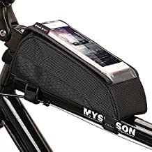 ONEU Bike Top Tube Bag, Quick Installation & Release Portable Bicycle Bag, Waterproof Touch Screen Phone Case Saddle Bag for Bicycle with Adjustable Hook&Loop