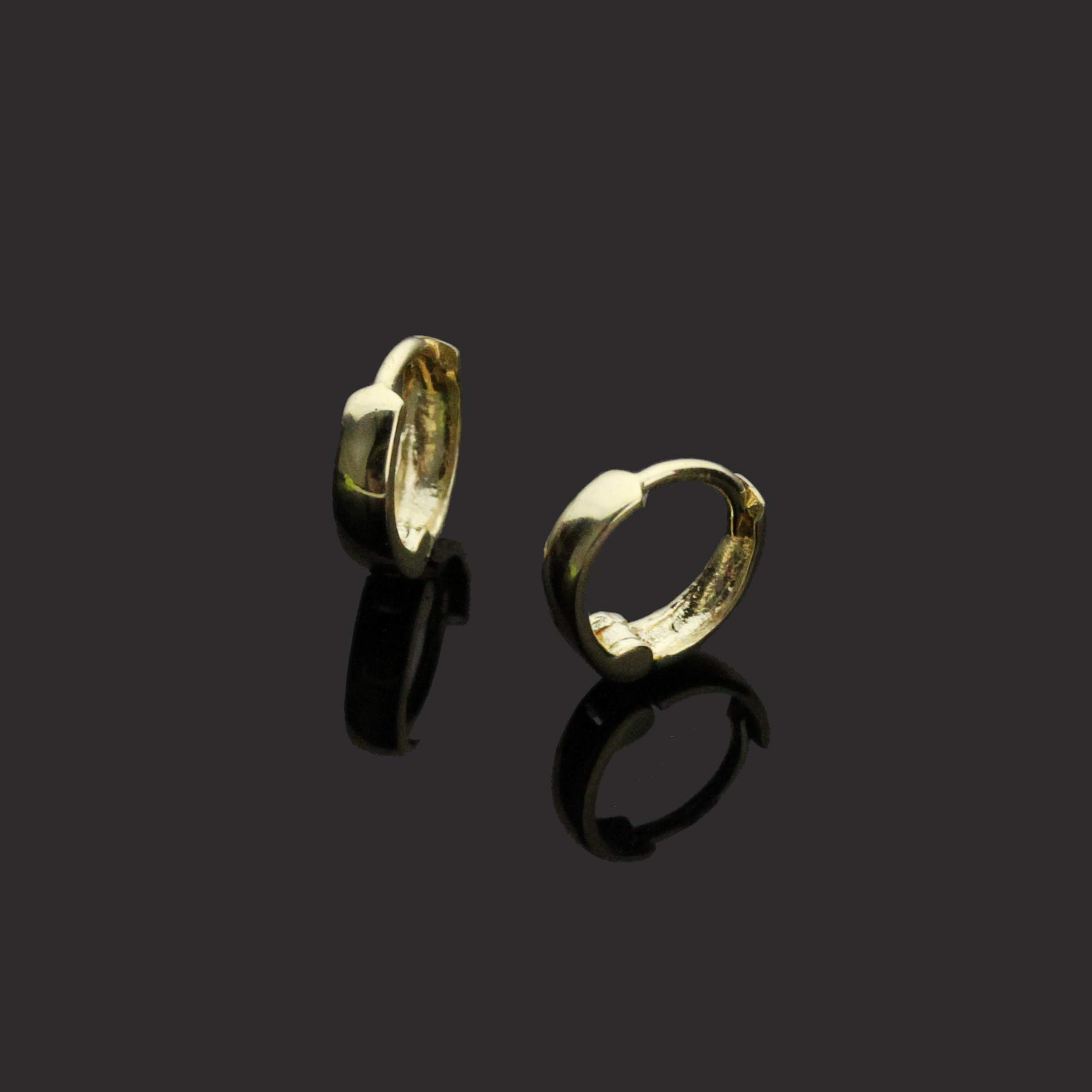 14K Yellow Gold Plain 2 X 6mm Domed Small Huggie Hoop Earrings by Double Accent (Image #5)