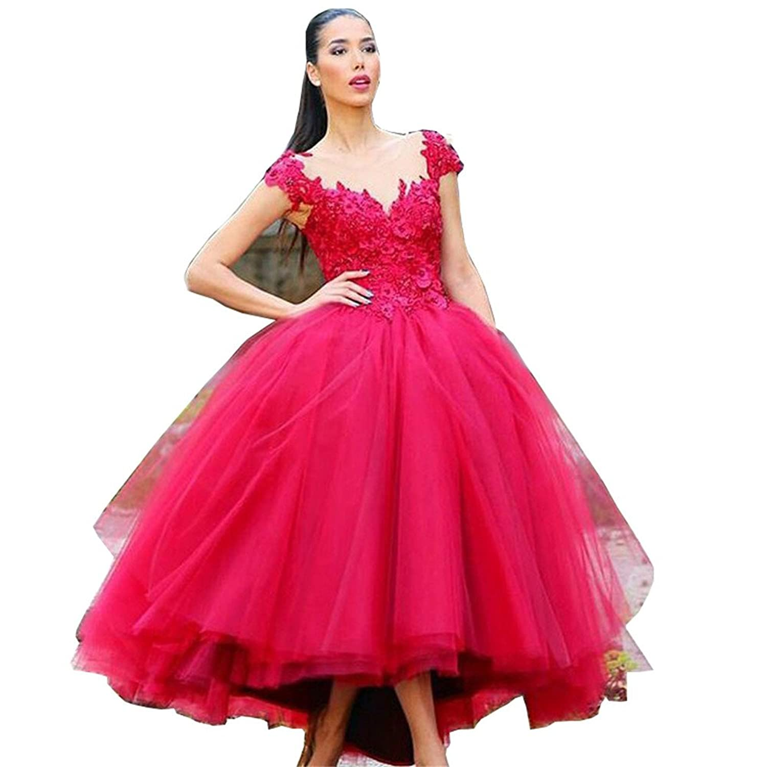 Amazon.com: CCBubble Tea Length Prom Dresses 2017 Appliques Red Ball ...