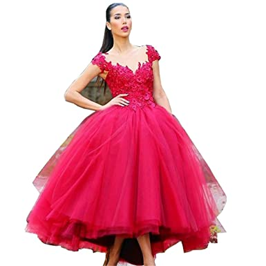 CCBubble Tea Length Prom Dresses 2017 Appliques Red Ball Gown Prom DressCXY183-US2