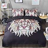 JUWENIN BEDDING,3pcs Duvet Cover Set 3d Lion Painting Pattern Zipper Closure (Queen, 3pcs)