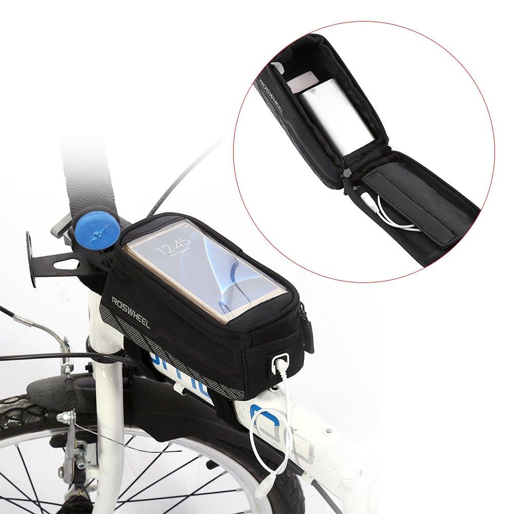 Bolsa Bicicleta Impermeable Funda m/óvil de Bici Bolsa del Tubo Manillar Pantalla PVC Transparente para tel/éfono 4.8-5.7 Inches L