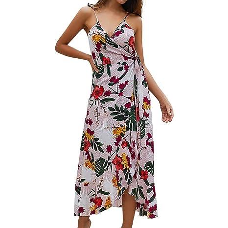d88257e71a7 Copercn Women s Ladies Sexy Elegant Foral Deep V-Neck Sleeveless Halter  Spaghetti Strap Waist-
