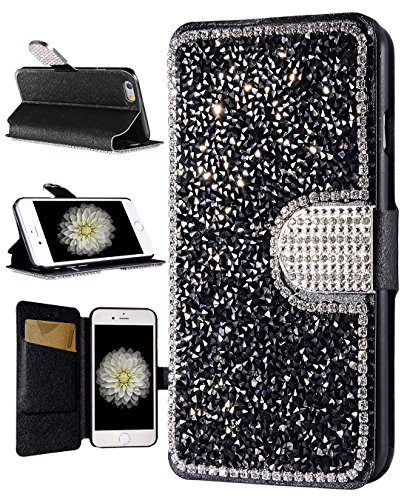 Rhinestone Black Cell Phone Purse