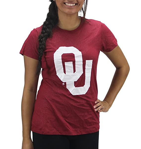 0584c6e28f786 Amazon.com  Creative Apparel Women  s Oklahoma Sooners Glitter Bling  T-Shirt  Clothing