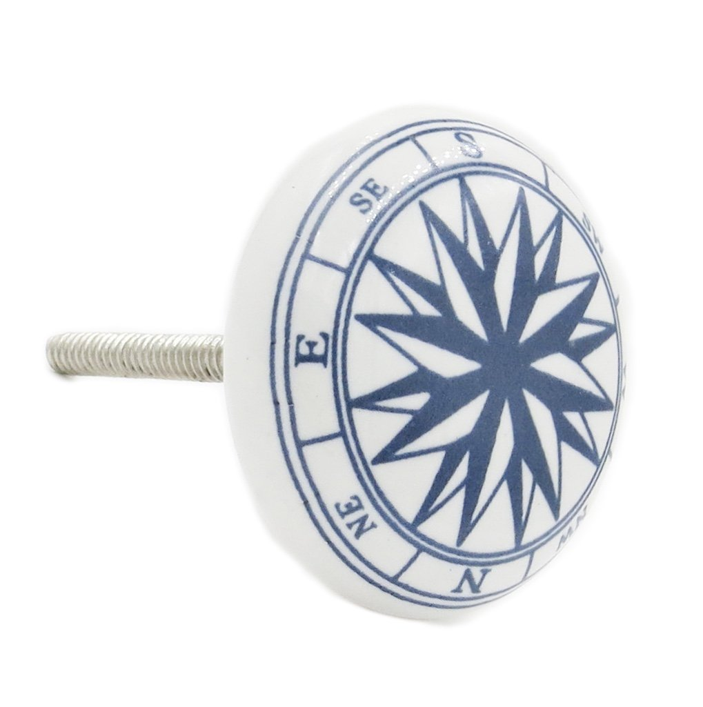 Ocean Compass Aquatic Ceramic Knob Pull for Cabinets, Drawers or Doors - Pack of 12