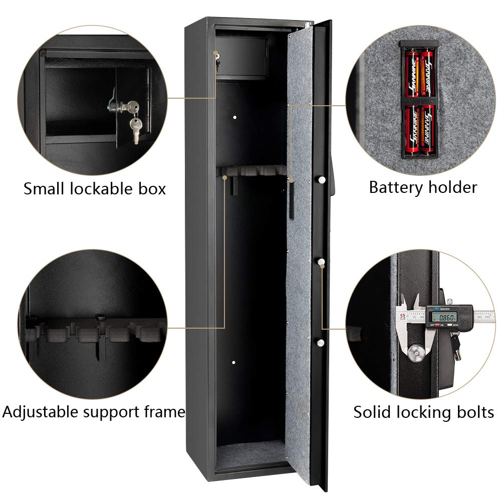 Rifle Gun Safe Large Firearms Shotgun Safe Cabinet Electronic 5 Gun Security Cabinet with Small Lock Box for Handguns Ammo┃Codes Memory Function┃Upgraded Honeycomb Box Packaging by FCH (Image #2)