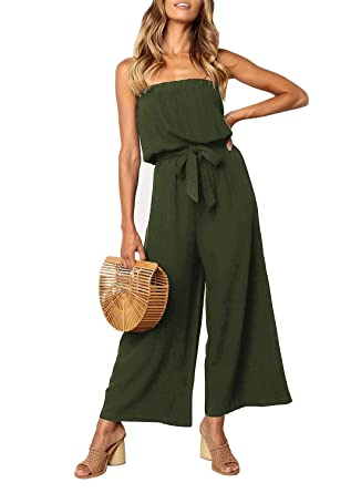 1e89bb14bded7 ZESICA Women's Casual Off Shoulder Solid Color Strapless Belted Wide Leg  Jumpsuit Romper Army Green