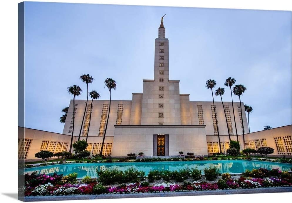 Los Angeles California Temple, Palm Trees and Garden, Los Angeles, California Canvas Wall Art Pri.