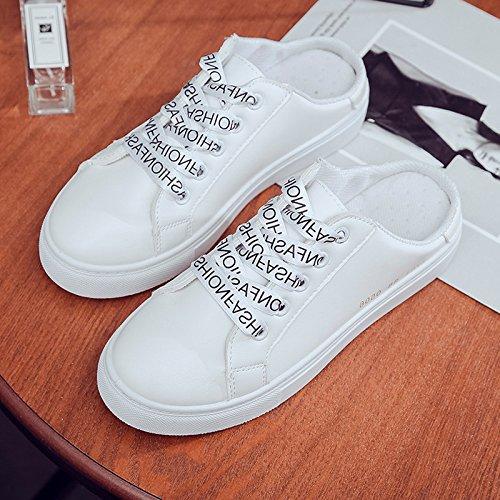 39 white de zapatos plano Baotou medio drag zapatillas de mujer perezoso Patear los talón sin coreana negro versión la el 40 tomar AU1qv