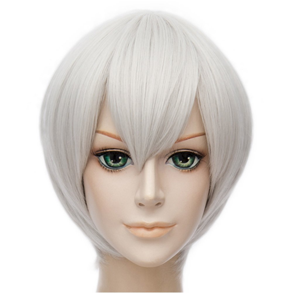 Short Cosplay Silver White Kinky Straight Natural Hair Wig ...