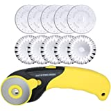 AUTOTOOLHOME 45mm Rotary Cutter 10pc Pinking Lace Circular Refill Blades Fabric Paper Cutting Knife Patchwork Leather Sewing Tool
