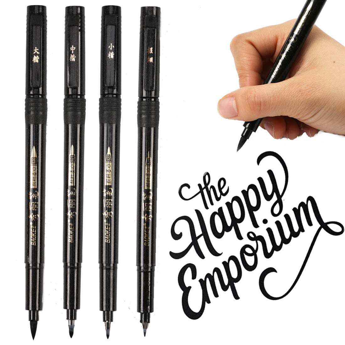Refillable Brush Marker Pens for Hand Lettering - 4 Size Black Calligraphy Ink Pen for Beginners Writing, Signature, Illustration, Design by BOXUN (Image #8)