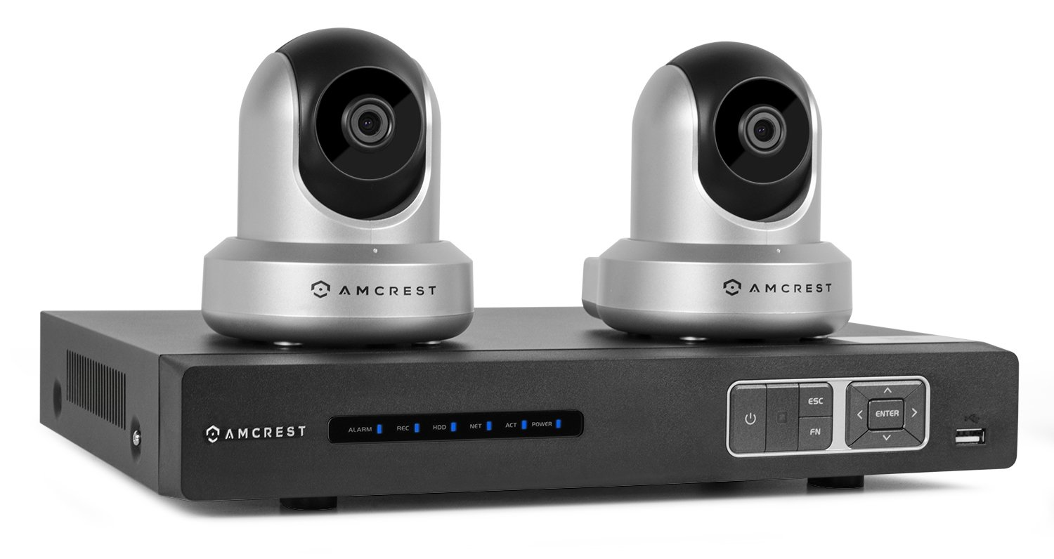 Amcrest Wireless IP Video Security System NV1104 1080p NVR (4CH 720p/1080p) and 2 x 720P Amcrest HDSeries WiFi Pan/Tilt IP Cameras IPM-721 (Silver)
