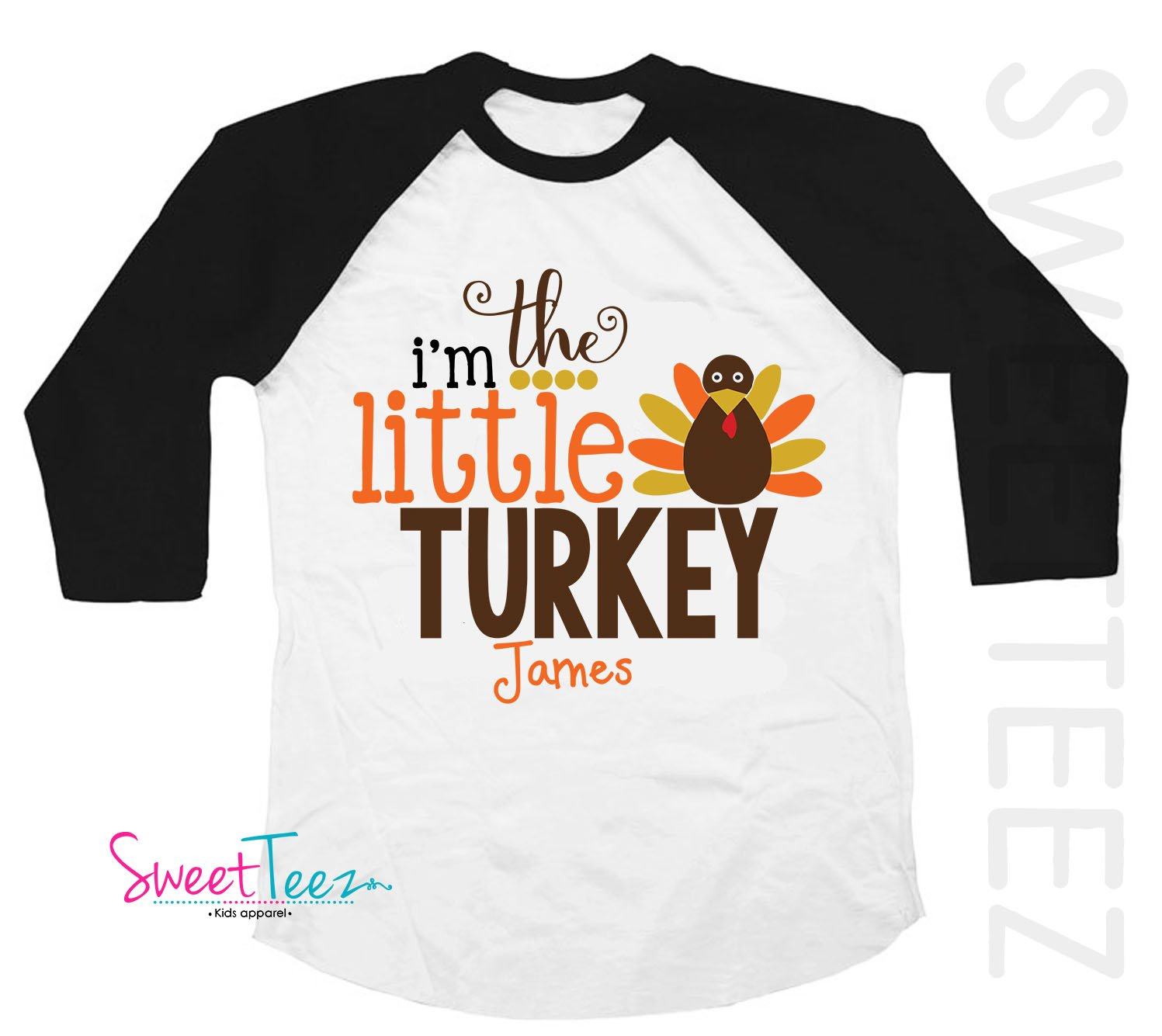 Little Turkey Shirt Personalized Big Turkey Shirt Black Sleeve Raglan Shirt Handmade for Thanksgiving