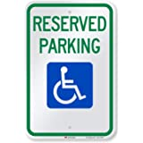 """SmartSign - T1-1001-EG_12x18 Reserved Parking Federal Handicap Parking Sign By   12"""" x 18"""" 3M Engineer Grade Reflective Alumi"""