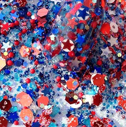 Custom & Fancy Approx 0.5 Teaspoon of Small Nail Art Glitter Confetti Made of Premium Mylar w/ Patriotic 4th of July USA Stars & Dot Shapes Chunky Shimmer Dust Design -