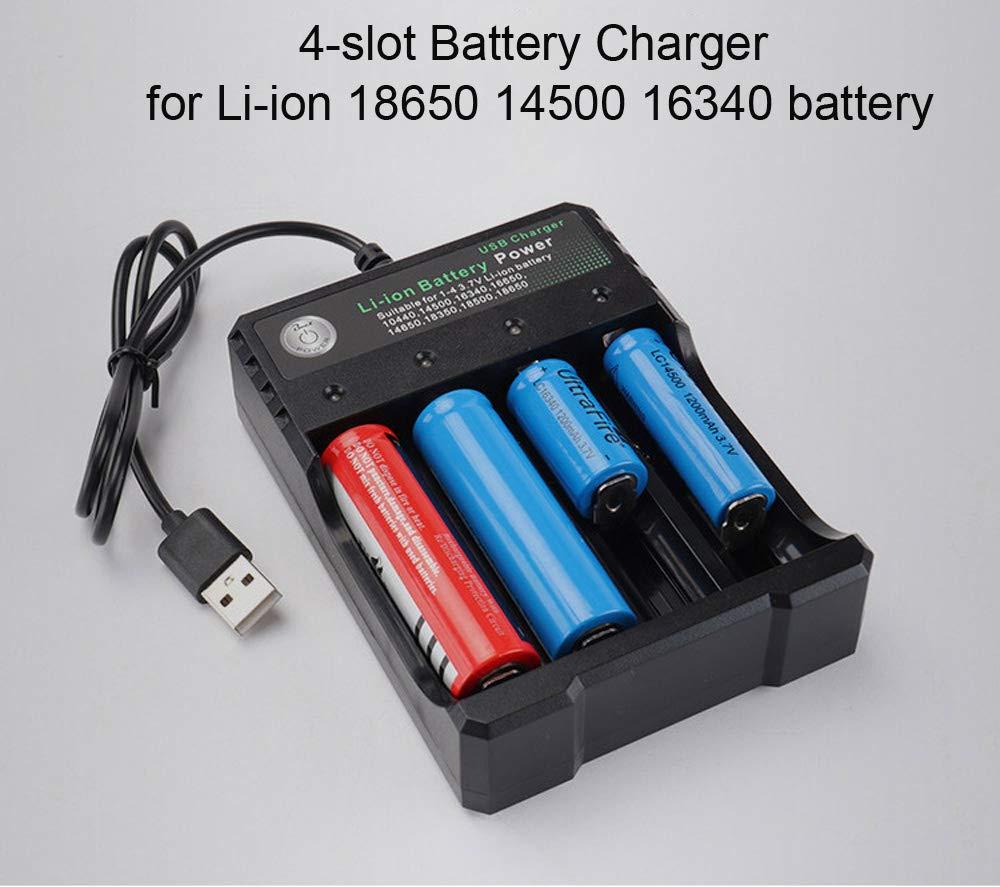 Amazon.com: Cargador de batería recargable de 4 ranuras para ...